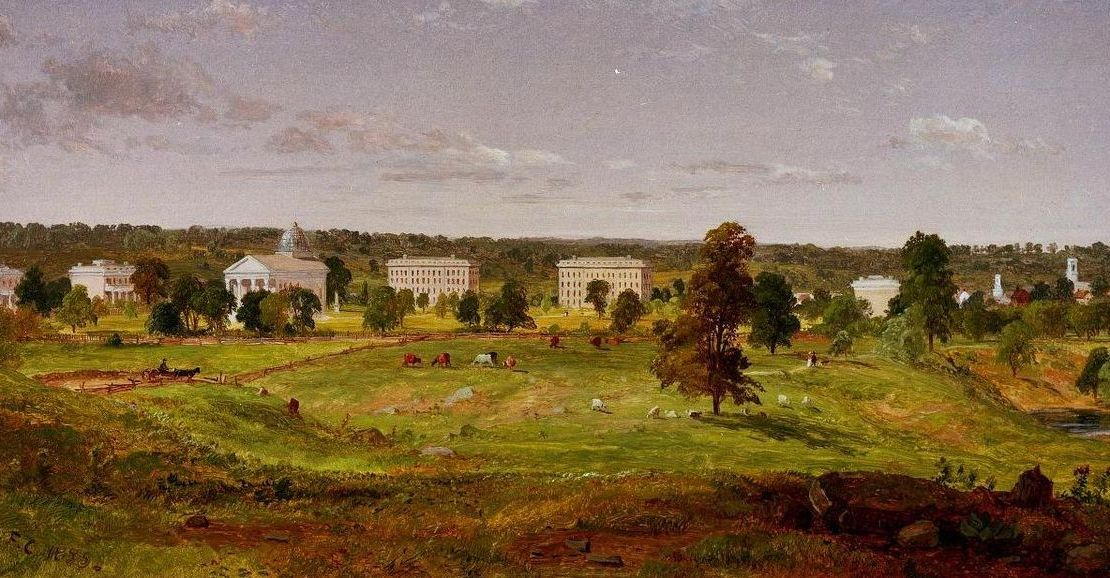 A painting of the University of Michigan as it first appeared.