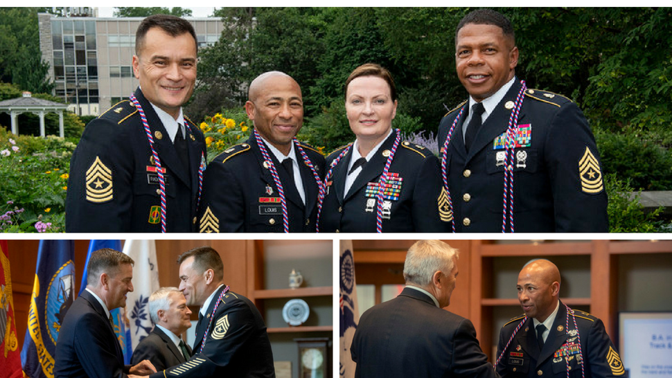 3 photos of U.S. Army Sergeants Major at the honor cord ceremony marking their graduation from Penn State