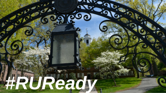 Image of the Old Queen's Gate at Rutgers University overlayed with the text #RUReady