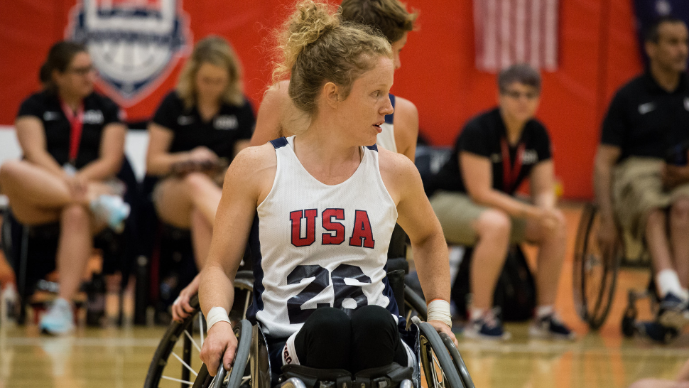 Purdue University student and captain of the Team USA wheelchair basketball team Shelby Gruss on the court.