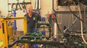 University of Michigan professor Andre Boehman in the engine lab testing algae biofuel models