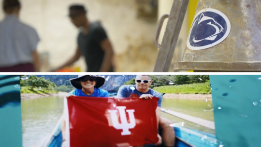 Images from BTN LiveBIG pieces on Penn State's Resevoir Studio and Indiana University's Swim for Life program