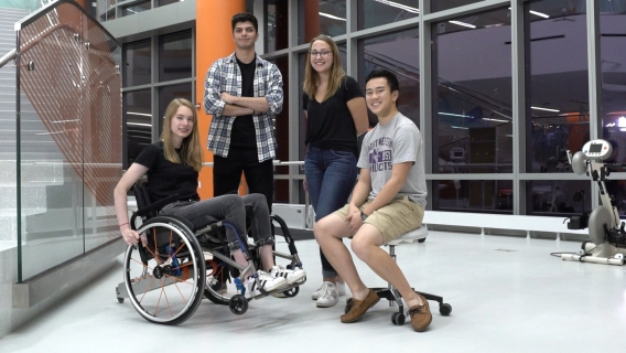 Northwestern University students team that designed the Alligator Tail wheelchair assistance device pose as a group