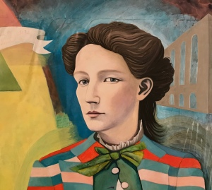 A painting of Victoria Woodhull by Rutgers University student and artist Valerie Suter