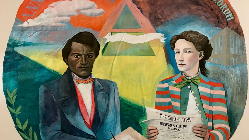 A painting of Victoria Woodhull and Frederick Douglass by Rutgers University student and artist Valerie Suter