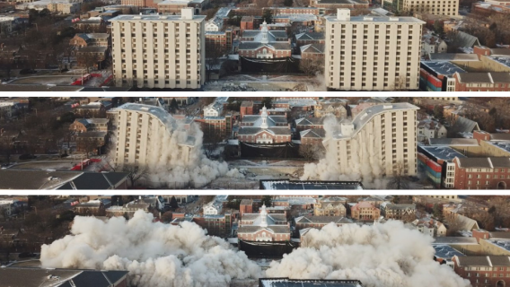 Images of the Cather-Pound Dorm Demoltion on the University of Nebraska campus