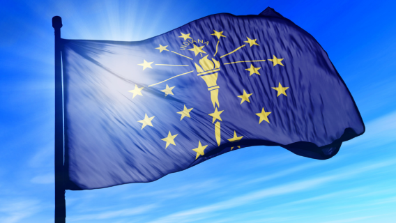 Indiana State Flag waving in the sun