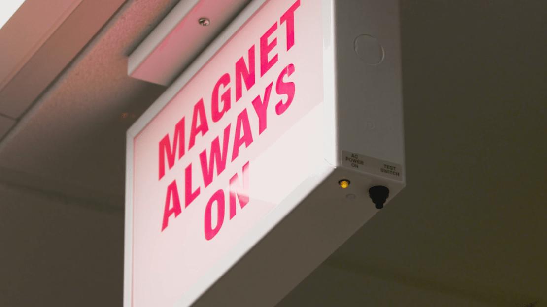 A sign outside the 10.5 tesla field strength MRI scanner developed at the University of Minnesota