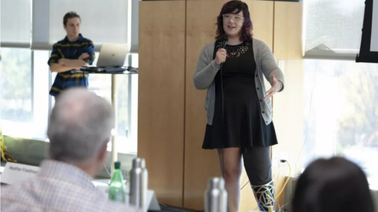No Limbits creator and University of Iowa student Erica Cole at a business idea pitch