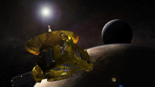 An artist's rendering of the New Horizons probe in space featuring the Ohio State University antenna.