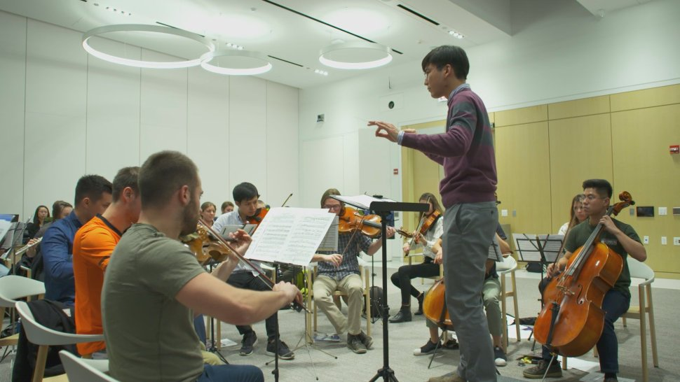 Northwestern University Feinberg School of Medicine students, faculty and alumni practice as part of the Northwestern Medical Orchestra