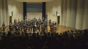 The Northwestern Medical Orchestra takes a bow at one of their frequent concerts.