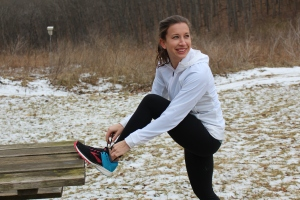 Indiana University Ph. D. student Olivia Ballew prepares to run in training for the 2020 Olympic marathon trials