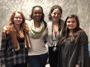 UM students Hannah French, Zoey Horowitz and Megan Diebboll with one storyteller (second from left.)