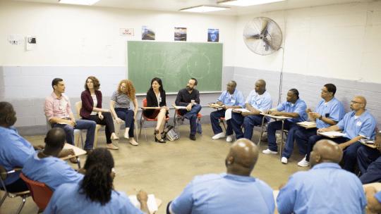 Jennifer Lackey leads a class of incarecerated students for Northwestern University's prison Education Program