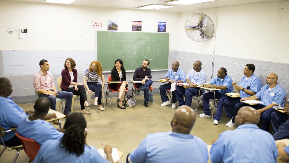 Jennifer Lackey leads a class of incarecerated students for Northwestern University's prison Education Program