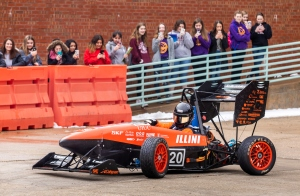 Engineering Student Project Laboratory students showcased their Formula SAE vehicles during Engineering Open House 2019 at Illinois. Engineering Open House is an annual student-led event featuring two days of exhibits and competitions showcasing the talent and ingenuity of engineering students at Illinois. Thousands of visitors come each year, especially K-12 students wanting to explore the possibilities of studying engineering.